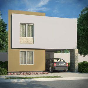Casas en Cumbres, Monterrey - Fachada Modelo Sonata A - Samsara Residencial