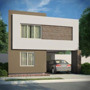 Casas en Cumbres, Monterrey - Fachada Modelo Sonata C - Samsara Residencial
