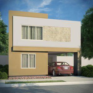 Casas en Cumbres, Monterrey - Fachada Modelo Sonata D - Samsara Residencial