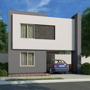 Casas en Cumbres, Monterrey - Fachada Modelo Sonata E - Samsara Residencial