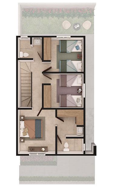 Foto de planta alta de casa en venta Modelo Sonata en Samsara Residencial, Cumbres, Nuevo León.