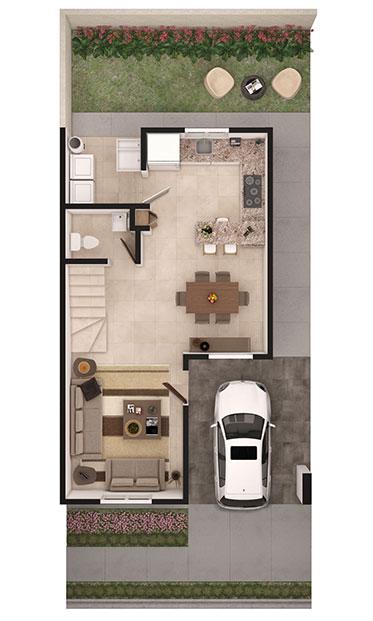 Foto de planta baja de casa en venta Modelo Sonata en Samsara Residencial, Cumbres, Nuevo León.